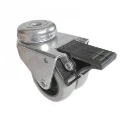 Kółko meblowe podwójne fi50 mocowane na otwór z hamulcem