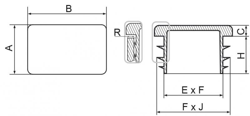 Zaślepka prostokątna 30x60mm - 20 sztuk