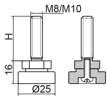 Stopka regulacyjno-obrotowa fi25 - M10x50 - 100 sztuk