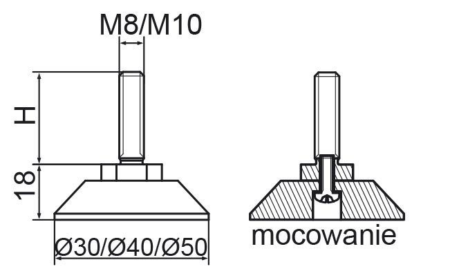 Stopka regulacyjno-obrotowa skręcana fi40 - M8x30 - 4 szt.