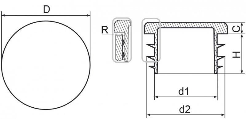 """Zaślepka okrągła calowa 42,4mm (1 1/4"""") - 100sztuk"""