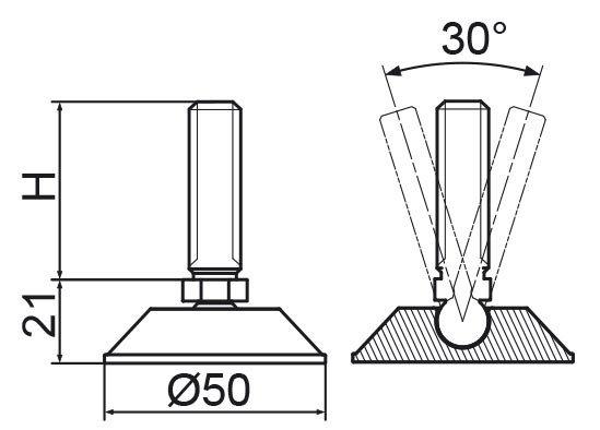 Stopka regulacyjno-przegubowa fi50 - M12x60 - 10 sztuk