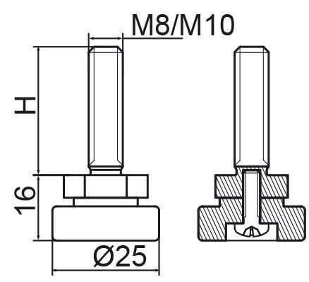 Stopka regulacyjno-obrotowa fi25 - M10x60 - 4 szt.