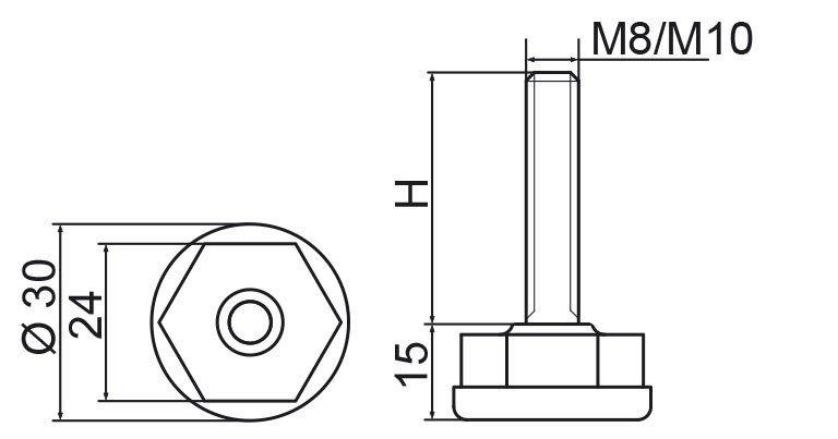 Stopka regulacyjna fi30 - M8x105 - 4 szt.