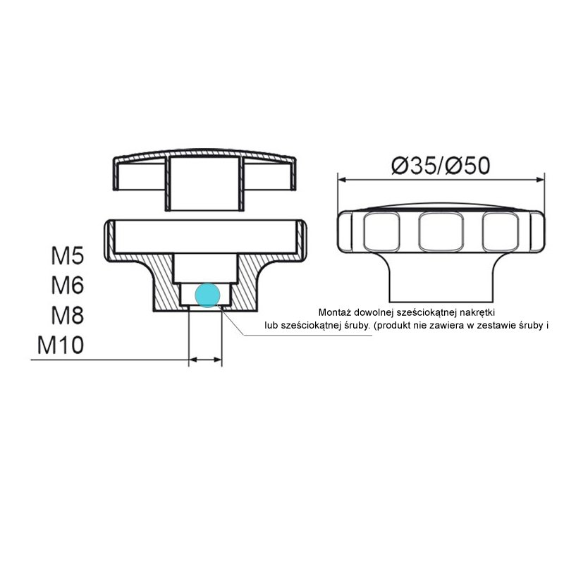 POK-02 Pokrętło składane fi50 M8 - 100 sztuk