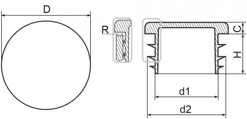 """Zaślepka okrągła calowa 21,3mm (1/2"""") - 10sztuk"""