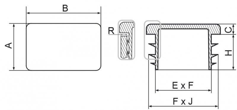 Zaślepki prostokątne 25x60mm - 20 sztuk