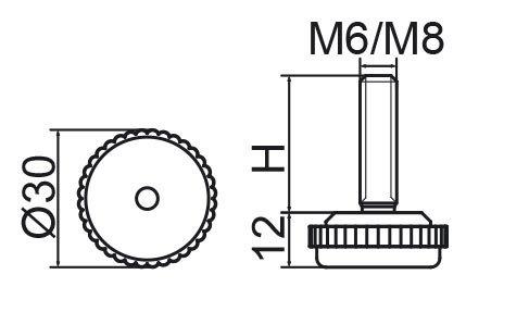 Stopka regulacyjna fi30 - M6x30 - 4 szt.