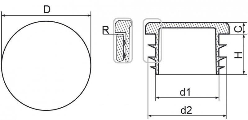 """Zaślepka okrągła calowa 76,1mm (2 1/2"""") - 50 sztuk"""