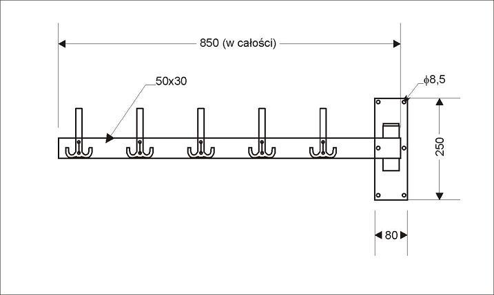 Wieszak szatniowy ścienny chromowany WS.20