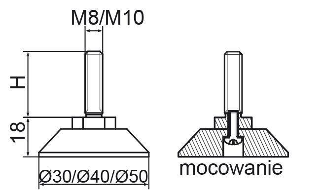 Stopka regulacyjno-obrotowa skręcana fi50 - M12x60 - 4 szt.