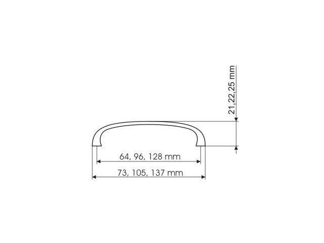 Uchwyt meblowy UN45 96mm - nikiel satynowy