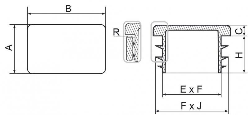 Zaślepki prostokątne 20x50mm - 50 sztuk