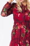 tiulowa sukienka midi z wiązaniem przy szyi, bufiastymi rękawami i falbankami