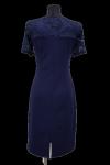 Granatowa sukienka PREMIUM2 koronka krótki rękaw