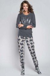 Piżama Damska Model Arctic dł.r. dł. sp. Grey Melange