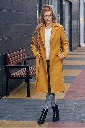 Wiosenny płaszcz z paskiem Bella PLA035 Bursztyn