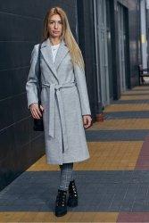 Wiosenny płaszcz z paskiem Bella PLA035 Melange Grey