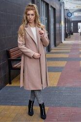 Wiosenny płaszcz z paskiem Bella PLA035 Beige