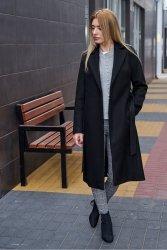Wiosenny płaszcz z paskiem bella PLA035 Black