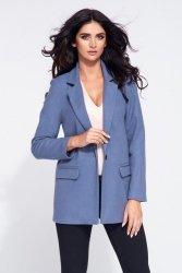 Krótki płaszcz flauszowy damski 275 Blue