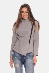Bluza z asymetrycznym zamkiem taliowana 137 Grey