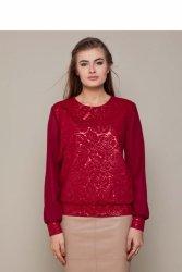 Elegancki sweter z dwóch materiałów GR1403 Winny