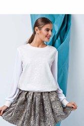 Elegancki sweter z dwóch materiałów GR1403 White