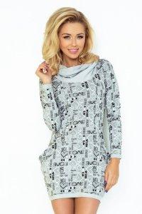 Sukienka dzienna / tunika L-XXL PLUS SIZE 135-1 Grey Wzór Love