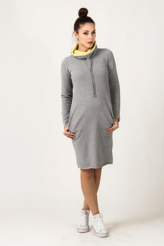 Sukienka Model Kaja 8 Light Grey/Yellow