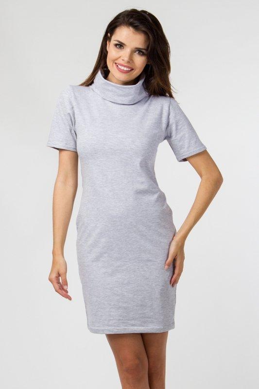 Sukienka dzianinowa M-036 Light Gray Melange