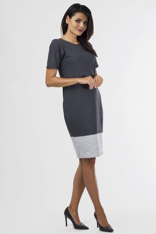Sukienka dzianinowa B-033 Graphit/Gray Melange