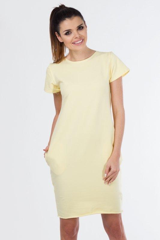 Sukienka dzienna PLUS SIZE 40-54 dzianina dresowa D-021 Light Yellow DUŻE ROZMIARY