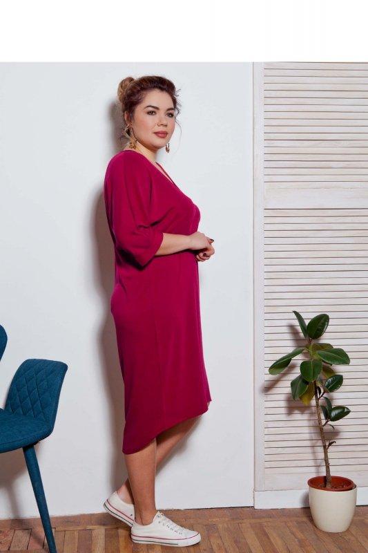 Sukienka-dzienna-plus-size-dla-puszystych-xl-xxl-48-52-Liliowa-dzianina-bok