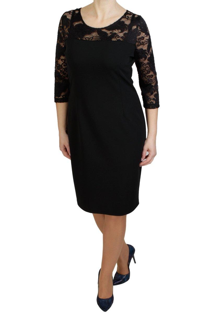 fe33001720 Elegancka sukienka XXL 40-58 ALFA PLUS SIZE CZARNA koronka midi ...