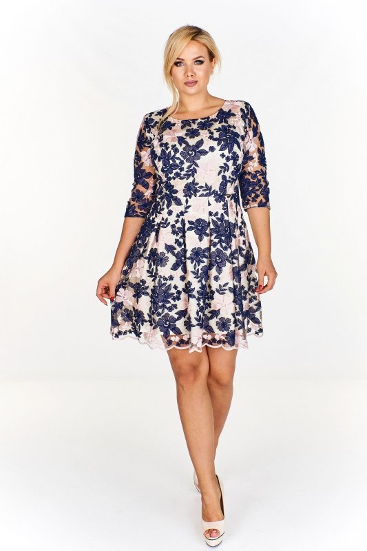 Elegancka sukienka ESTELA w kwiaty z rozkloszowanym dołem