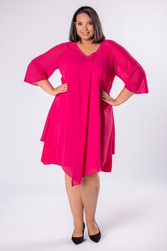 Elegancka-sukienka-xl-xxl-wizytowa-na-wesele-chrzest-komunia-IREXA-trapezowa-roz-fuksja-luzna-przod