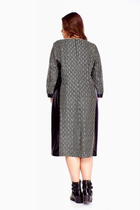 sukienka ze skórzanymi wstawkami