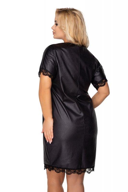 Sukienka KIRA z eko skóry z koronkowymi wstawkami