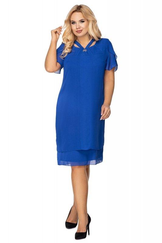 tiulowa sukienka z krótkim rękawem i błyszczącą aplikacją przy dekolcie