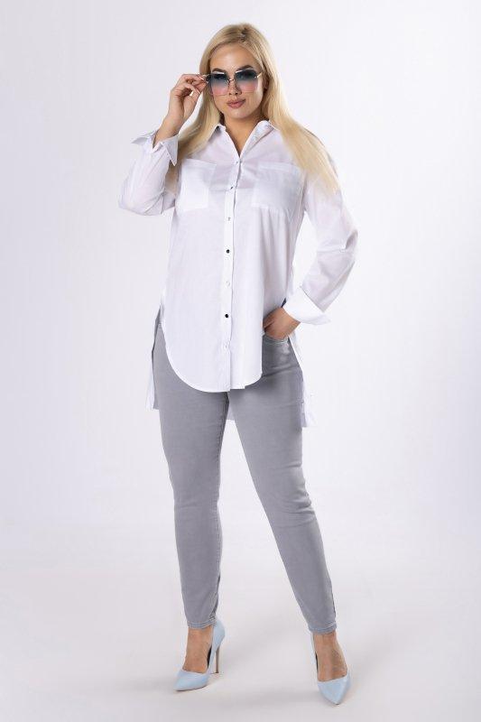 bluzka o koszulowym kroju z kieszeniami na biuście i rozcięciami po bokach