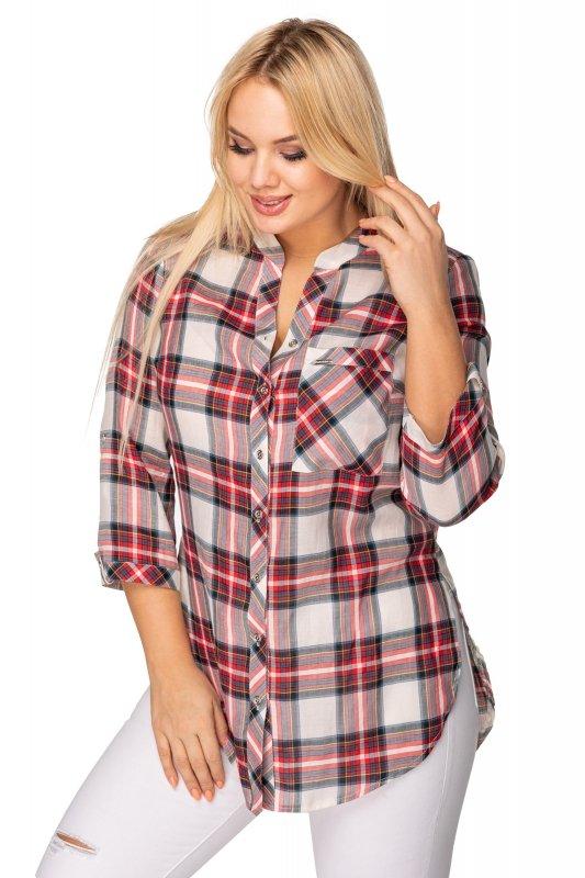 Koszula-damska-plus-size-xl-xxl-dla-puszystych-NOVA-w-kratke-z-guzikami-na-dekolcie