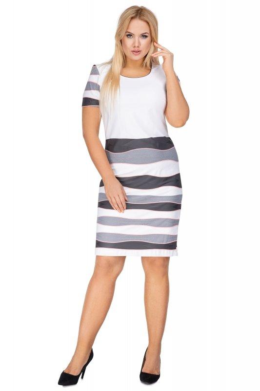 Sukienka-plus-size-koktajlowa-chrzest-komunia-MIKA-dla-puszystych-xl-xxl-pasy-wzor-krotki-rekaw