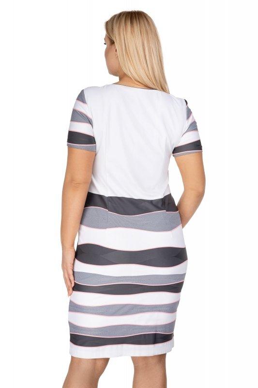 Sukienka-plus-size-koktajlowa-chrzest-komunia-MIKA-dla-puszystych-xl-xxl-pasy-wzor-krotki-rekaw-tyl