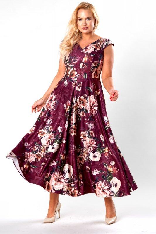 rozkloszowana sukienka maxi z kontrafałdami i odkrytymi ramionami