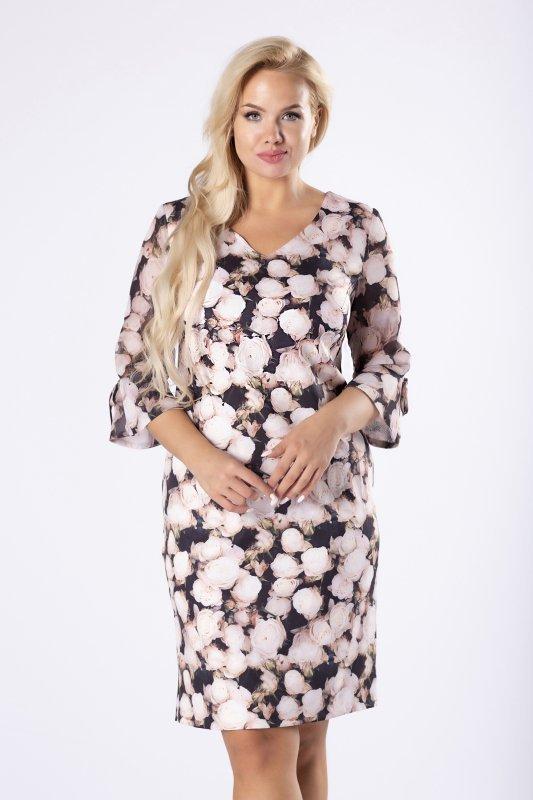 dopasowana sukienka w róże z dekoltem w serek i tiulowymi rękawami