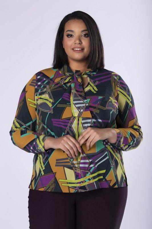 koszulowa bluzka z wiązaniem przy szyi