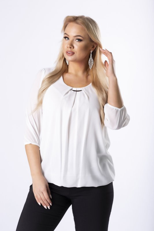 elegancka bluzka z zakładkami na dekolcie