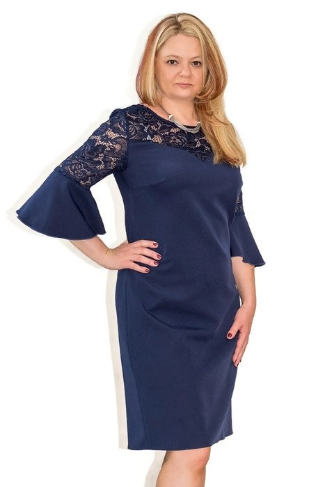 61240ec65bbf2e Elegancka sukienka plus size 40-60 na wesele PAOLA popiel - XELKA ...