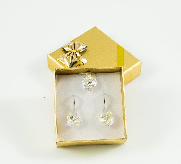 Swarovski-gotowy-prezent- kolczyki-i-przywieszka-srebro-925-heart-Crystal-na-swieta